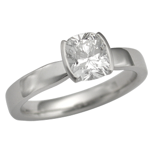 Modern Taper Engagement Ring with Cushion