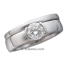 Modern Taper Engagement Ring with Wedding Band