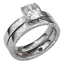 Modern Taper Engagement Ring with Diamond Eternity Wedding Band