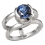 Modern Scaffold Engagement Ring with Blue Sapphire