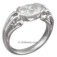 Carved Curls Engagement Ring with Oval Diamond