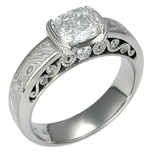 Mokume Curls Engagement Ring with a Cushion Cut Diamond
