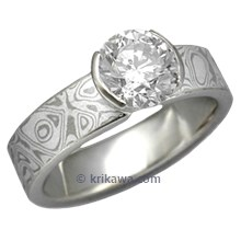 White Mokume Solitaire Straight Tapered Head Engagement Ring