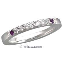 Short Pave Wedding Band with Amethysts