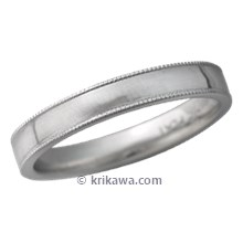 Narrow Modern Millegrain Wedding Band