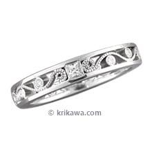 Millegrained Curls Wedding Band with Princess Cut Diamonds