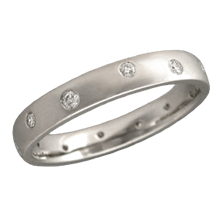 Scattered Diamond Wedding Band, 3mm Wide