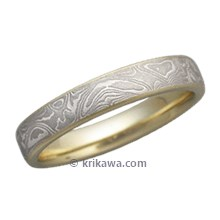 White Mokume Wedding Band with a Light Etch