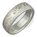 Green Gold Mokume Wedding Band