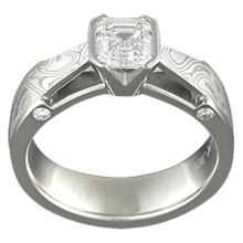 White Mokume Bridge Engagement Ring with Matte Finish