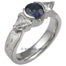 Mokume Three Stone Engagement Ring with Blue Sapphire