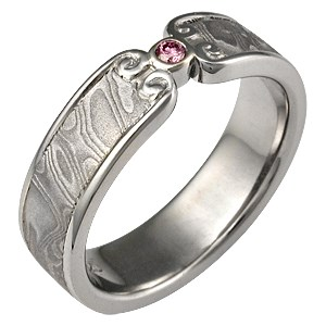 Mokume Wedding Band with Curls with Pink Diamond