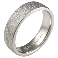 Platinum Mokume Wedding Band with a Heavy Etch