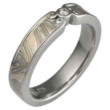 Champagne Mokume Wedding Band with Curls with High Polish Finish