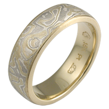 Summer Mokume Wedding Band with a Light Etch