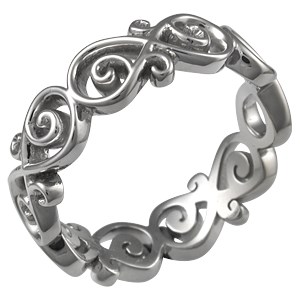 Ornate Infinity Wedding Band in Palladium