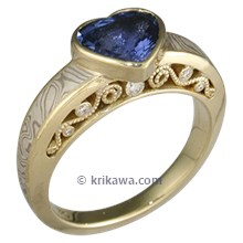 Heart Shaped Blue Sapphire in Mokume Curls Engagement Ring