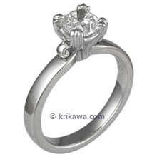 Carved Leaf Engagement Ring with Cushion Cut Diamond