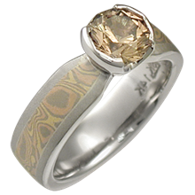 Trigold Mokume Solitaire Tapered Engagement Ring