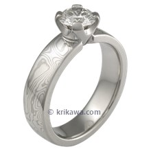 White Mokume Solitaire Straight with Tapered Head Engagement Ring