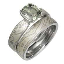 Winter Mokume Solitaire Tapered Engagement Ring with Green Sapphire