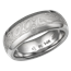 White Mokume Wedding Band with Flush High Polish Edges