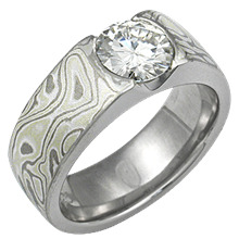Winter Mokume Flush Stone Solitaire Engagement Ring