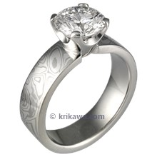 High Polish Mokume Solitaire Straight with Tapered Head Engagement Ring