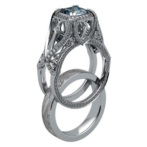 Belle Époque Scaffolding Engagement Ring and Mokume Wedding Band