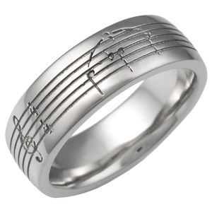 Musical Symbol Wedding Ring, 7mm