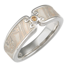 Champagne Mokume Wedding Band with Curls in Palladium