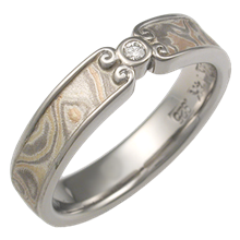 Champagne Mokume Wedding Band with Curls, 4mm