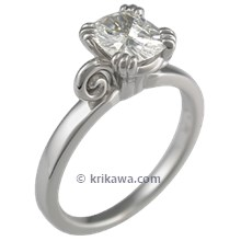 Carved Leaf Engagement Ring with Modified Curls