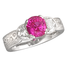 Pink Sapphire in Mokume Three Stone Engagement Ring
