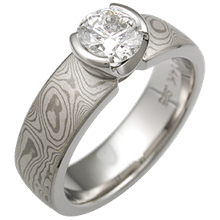 White Mokume Solitaire Engagement Ring Mounting