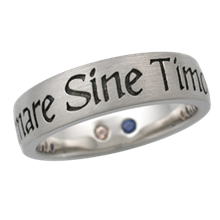 Latin Phrase Word Band with Birthstones
