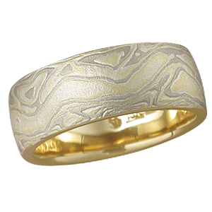 Summer Mokume Wedding Band, Yellow Gold Liner