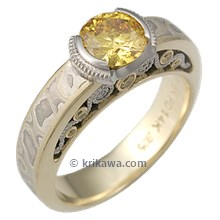 Mokume Curls Engagement Ring with Yellow Diamond