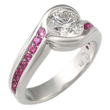 Carved Wave Engagement Ring in Platinum with Rubies