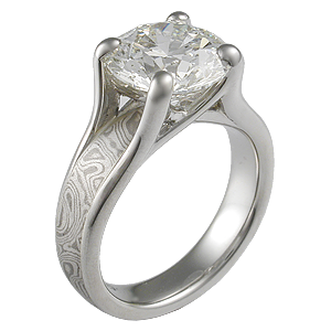 Mokume Wing Engagement Ring with 3.75 ct Diamond