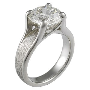 Mokume Wing Engagement Ring with 3.75 ct Diamond
