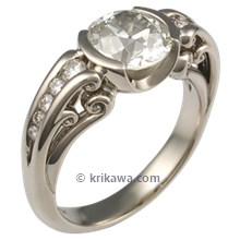 White Gold Carved Curls Engagement Ring