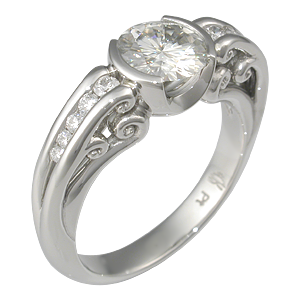 Carved Curls Engagement Ring with Moissanite