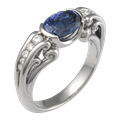 Carved Curls Engagement Ring with Oval Blue Sapphire