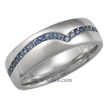 Blue Sapphire Wave Wedding Band