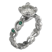 Delicate Leaf Engagement Ring with Emerald Accents