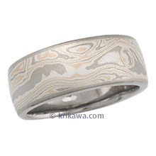 Champagne Mokume Wedding Band with White Gold Liner