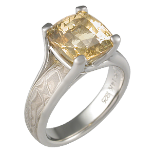 Mokume Wing Engagement Ring with Yellow Sapphire