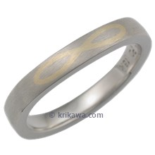Flush Inlay Infinity Wedding Band in Palladium and Yellow Gold