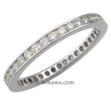 Diamond Channel Brilliant Eternity Wedding Band with 1.5 mm